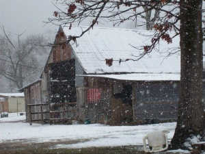 The barn during a recent snowfall.