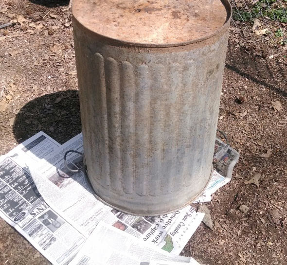 Ugly metal trash can